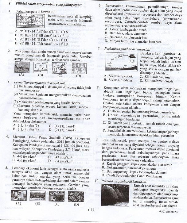 Latihan Soal Usbn Ips Smp Mts Tahun 2017 Sesuai Kurikulum 2013 Serba Serbi Guru Kurikulum Latihan Smp