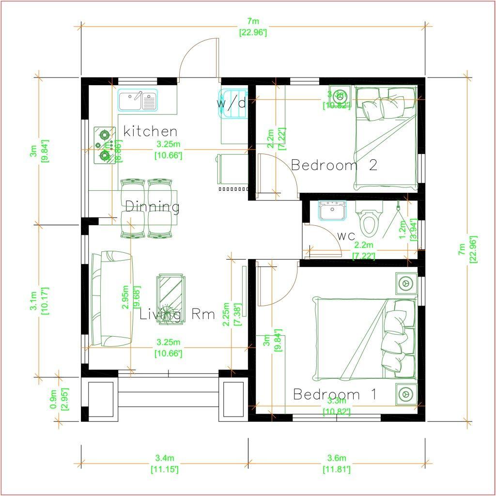 Modern Tiny Homes 7x7 Meters 24x24 Feet Pro Home Decors Modern Tiny House Small House Design Small House Design Plans