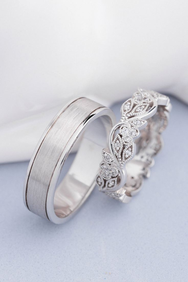 His And Hers Wedding Bands White Gold Wedding Rings Diamonds Wedding Rings Couple Rings Wedding Ring Sets Unique Cool Wedding Rings Couple Wedding Rings