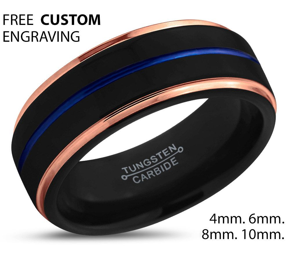 Black Tungsten Blue Ring Rose Gold Wedding Band Carbide Man Male Women Anniversary Matching By BellyssaJewelry On