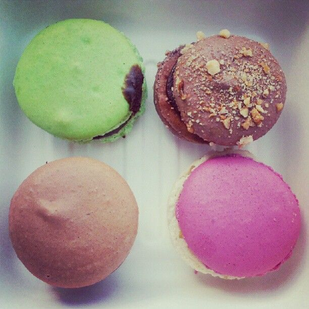 Macarons heaven: mint, Ferrero Rocher, raspberry & vanilla, and salted caramel. Yum!