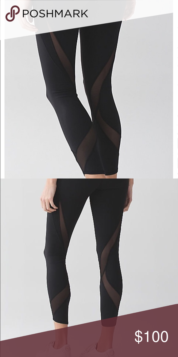 Lululemon Tranquil Tight Hardly worn. No signs of wear. Sold out everywhere. High rise luon tights with mesh wrap around. lululemon athletica Pants Leggings