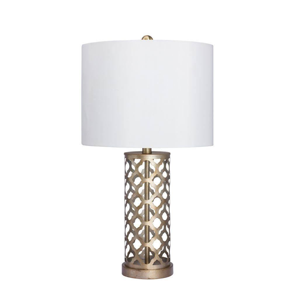 Table Lamps At Home Depot Fangio Lighting 26 Inmuted Gold Moroccan Weave Metal Table Lamp