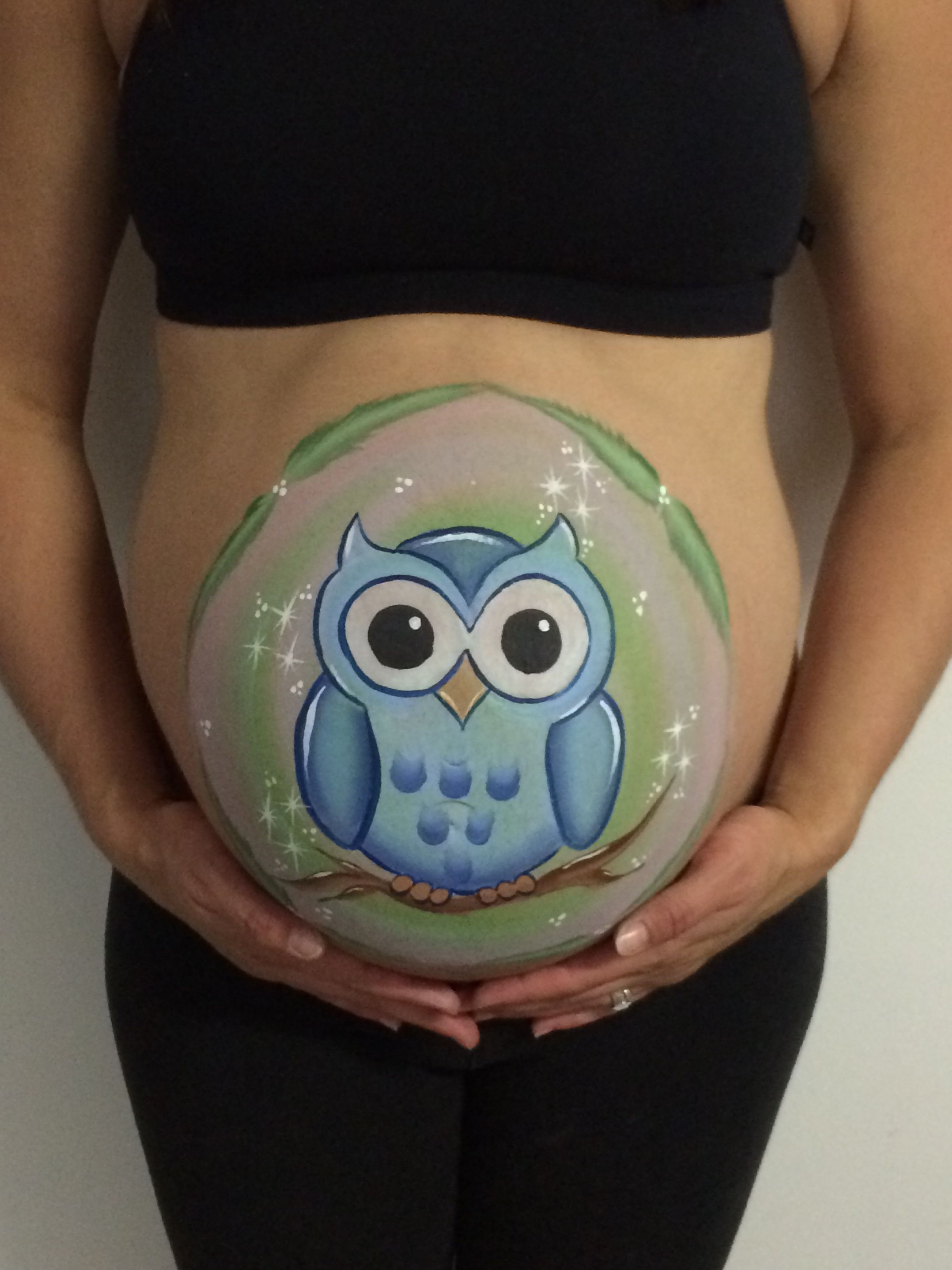 Baby belly painting ... 37 weeks and 4 days, waters broken and during contractions!!! Had to get it done quickly!