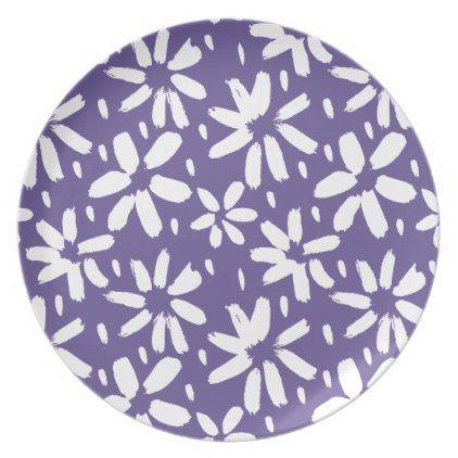 Ultra violet white flower pattern dinner plate trendy gifts cool ultra violet white flower pattern dinner plate trendy gifts cool gift ideas customize negle Images