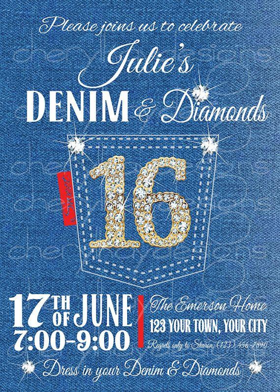 Denim and diamonds invitation  - birthday invitation wording for movie party