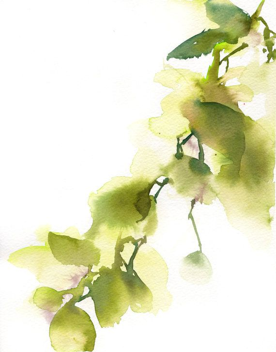 Original Watercolor Painting Green Leaves Abstract Painting