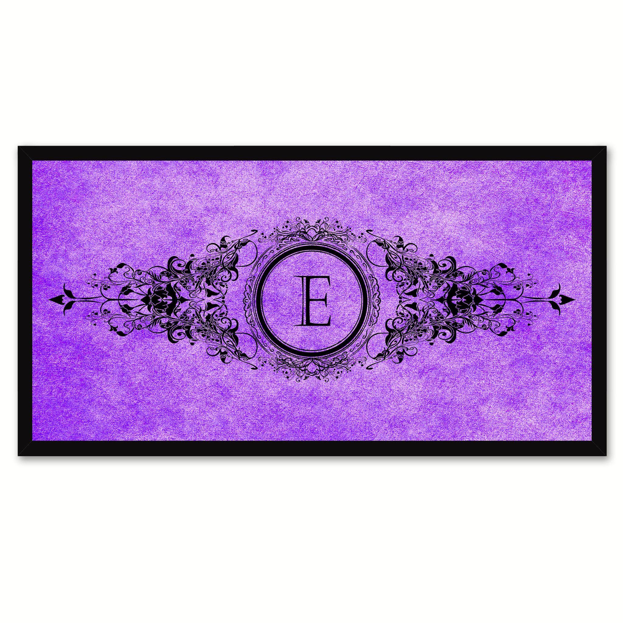 Alphabet Letter E Purple Canvas Print Black Frame Kids Bedroom Wall Décor Home Art
