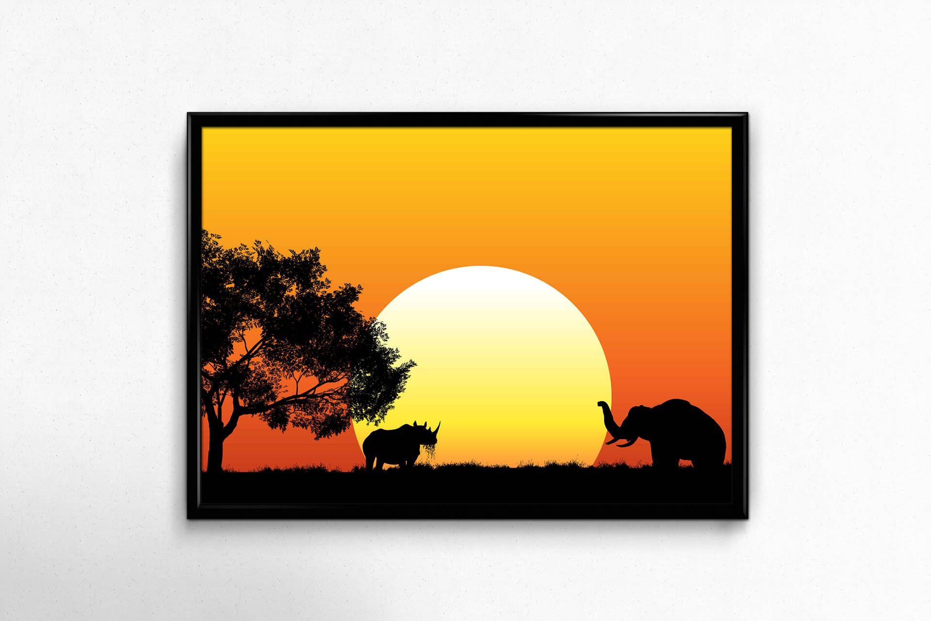 African sunset print, sunset photo, Sunset print, living room ...