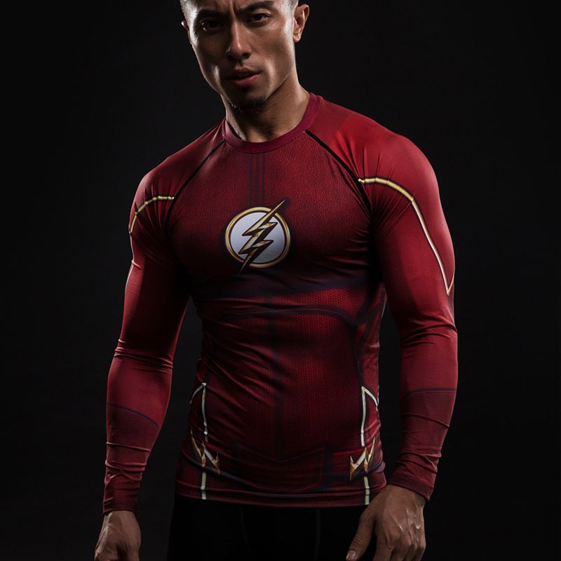 Men The Flash Slim Fit 3D Print Long Sleeve T-shirts Cosplay Marvel Costume Tops