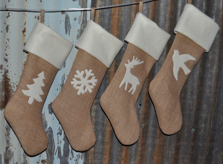 Burlap Christmas Stockings Part - 38: Pinterest