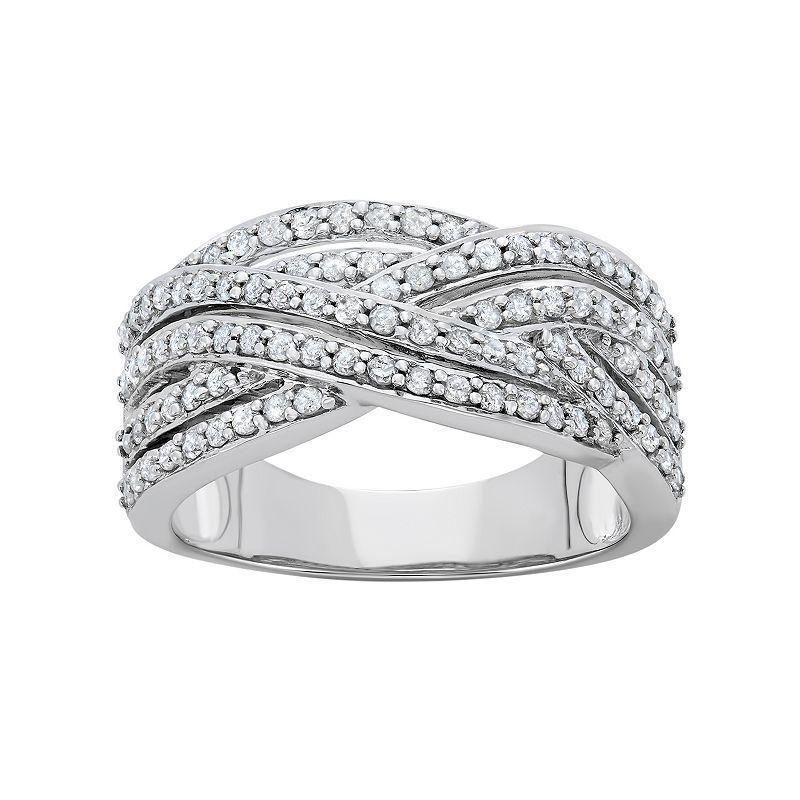 3/4 Carat T.W. Diamond 10k White Gold Crisscross Ring, Women's, Size: