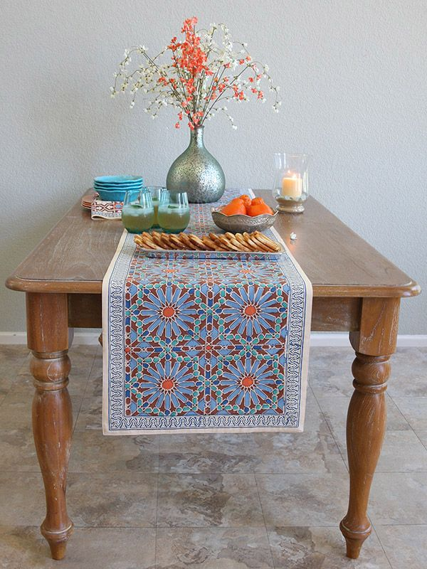 Moroccan Tile Print Blue Table Runner, 90 180 120 Inch Long, 18 Inch Wide