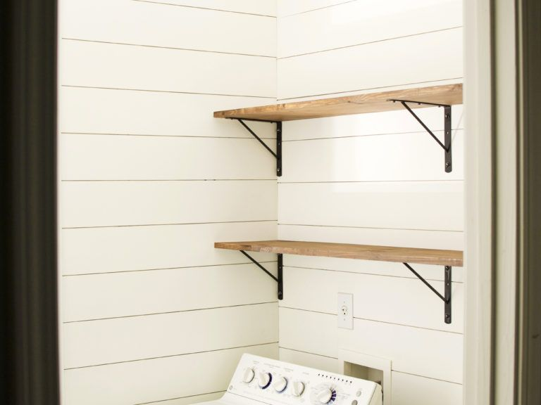 How to Make & Install DIY Stained Wood Shelves #stainedwood