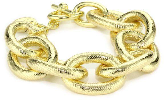 1AR by UnoAerre 18k Gold-Plated Textured Link Bracelet