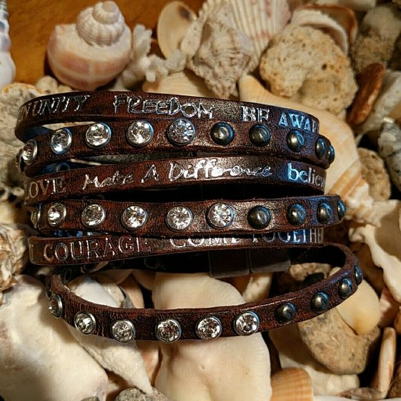 Leather With Silver Hardware And Rhinestones Encouraging Words Affirmations Add To It S Charm Good Works Jewelry Bracelets