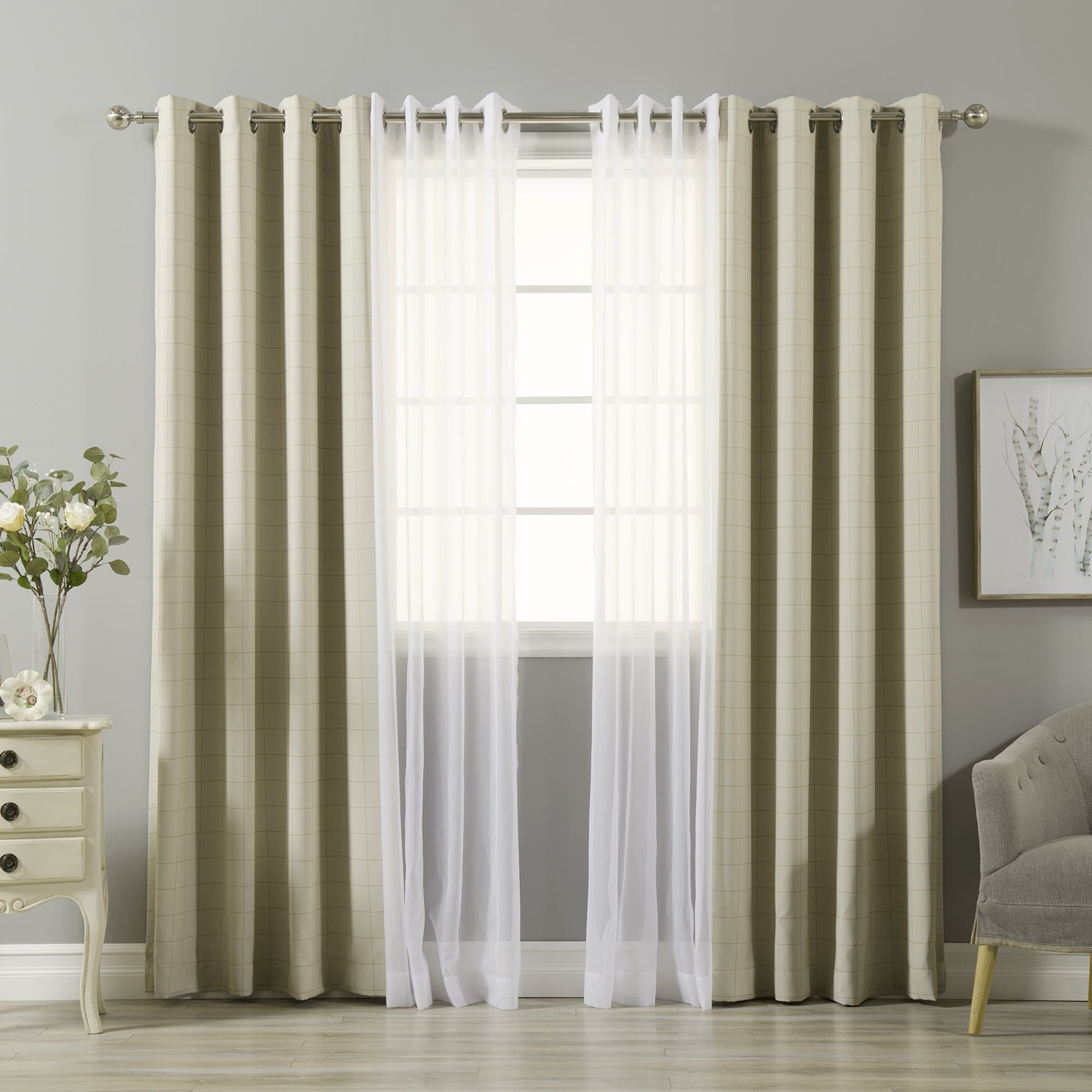Aurora Home Mix Match Check And Voile Sheer 4 Piece Curtain