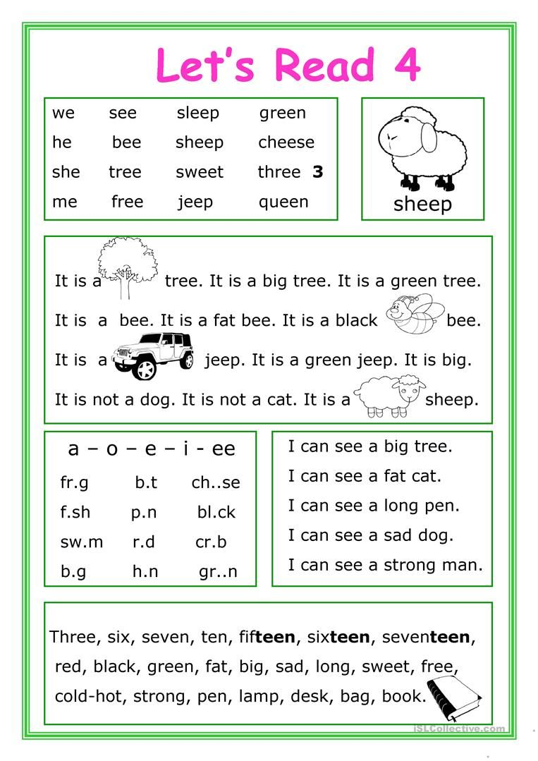 Let's Read 4 worksheet Free ESL printable worksheets