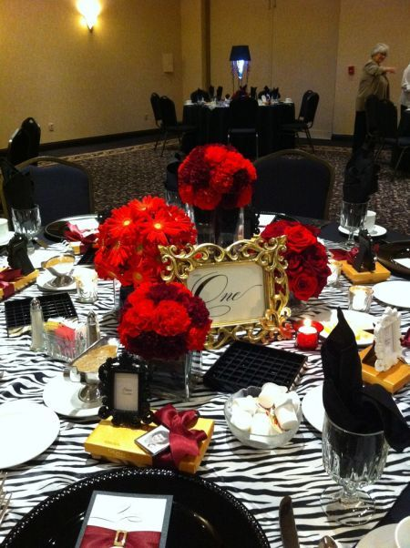 Black and white table with a splash of color for 80th for 80th decoration