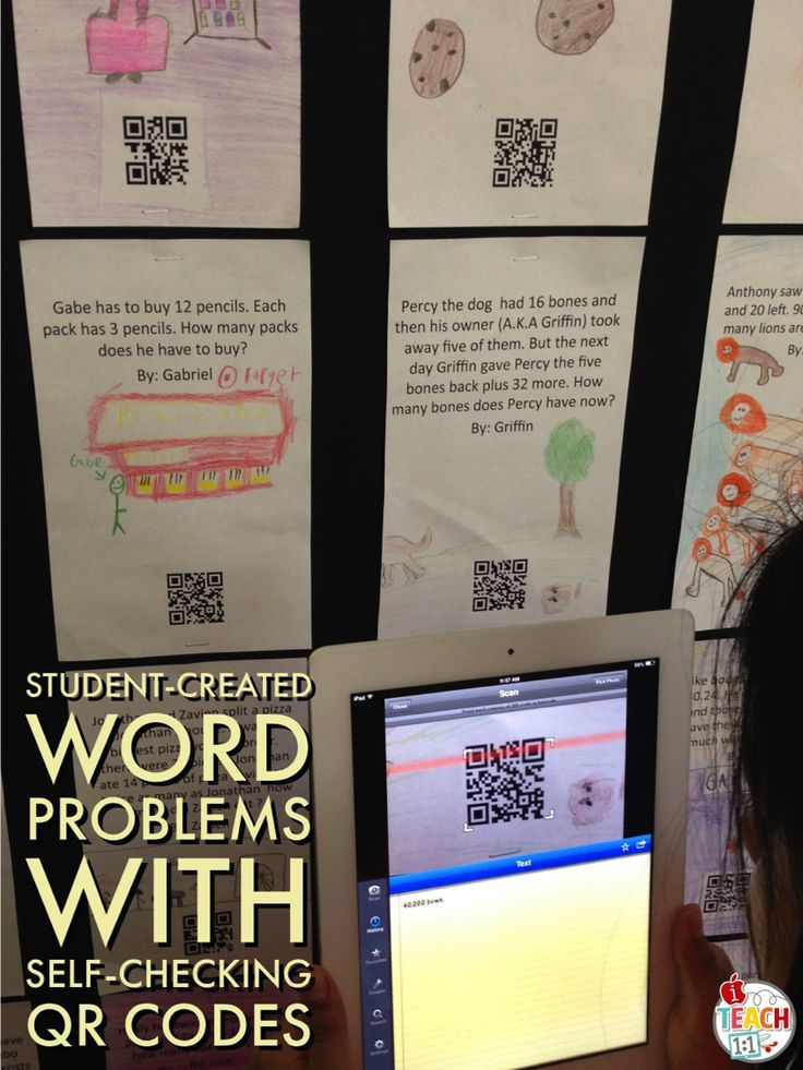 QR code bulletin board created by students: Word problems with self-checking QR codes