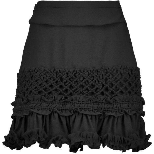 Carven Ruffled crepe mini skirt ($370) ❤ liked on Polyvore featuring skirts,  mini