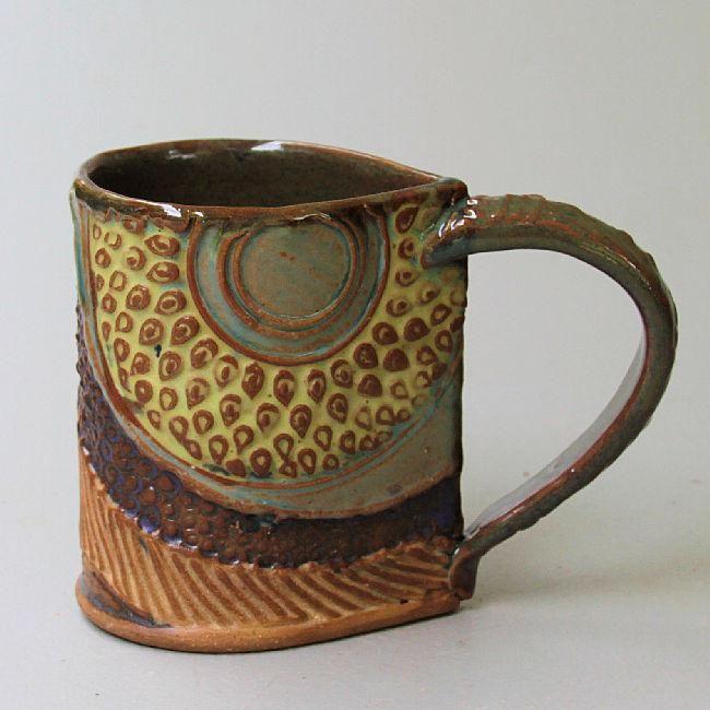 Sunflower Pottery Mug Coffee Cup Handmade Functional Tableware 12 oz
