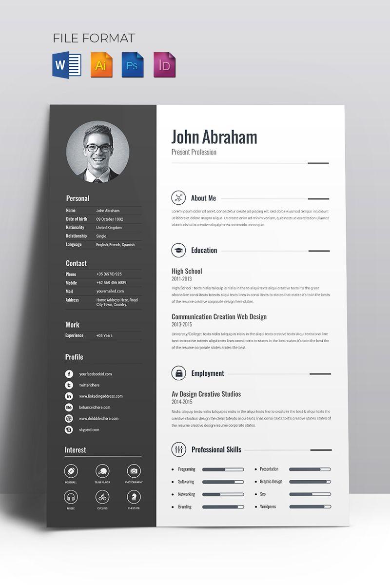 Minimal Creative Cv Resume Template 67714 Templatemonster Creative Resume Template Free Creative Resume Templates Resume Design Creative