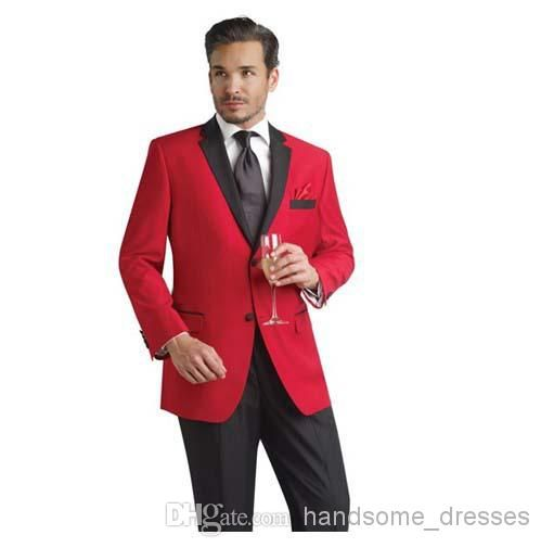 Buy Red Jacket And Black Pants Groom Tuxedos Groomsmen Men's ...