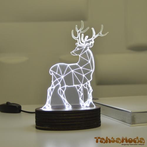 Tahtamoda 3D 3 Boyutlu Dekoratif Led Lamba Geyik - tht3d4
