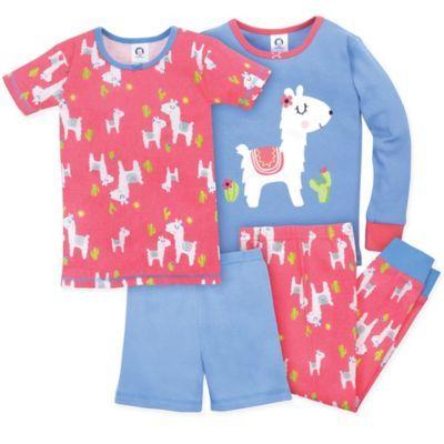 Gerber Size 12M 4-Piece Llama Pajama Set In Blue pink  c258d8483