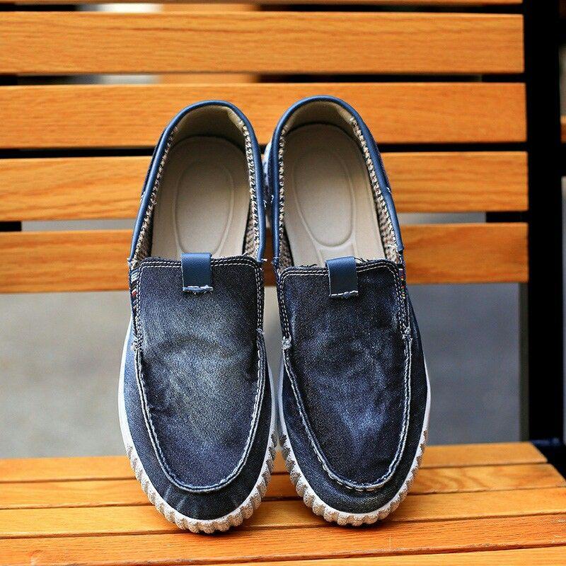 2017 New Arrival Summer Men Casual Shoes Classical Vintage Men Shoes Denim Shoes Canvas Slip On Denim Shoes Jeans Fabric Soft