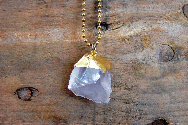 Kristal met gouddip ketting door EarlybirdiesNL op Etsy