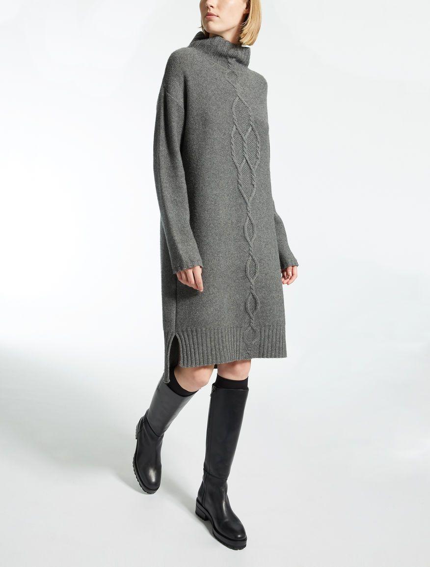 f27f24bb54f2 Max Mara DLEMBO grigio chiaro  Abito in lana e cachemire.