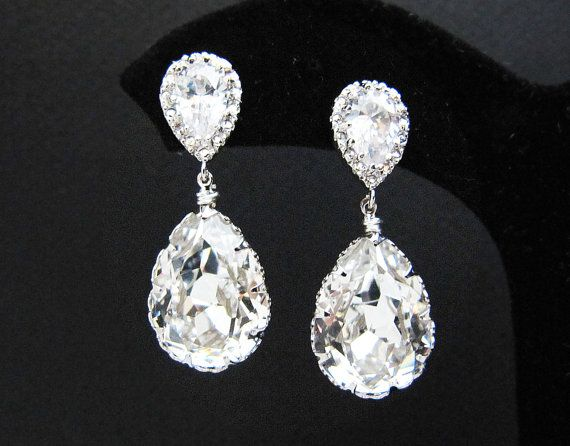 bridesmaid com tear jewelry earringsnation crystal clear earrings white swarovski bridal from drops