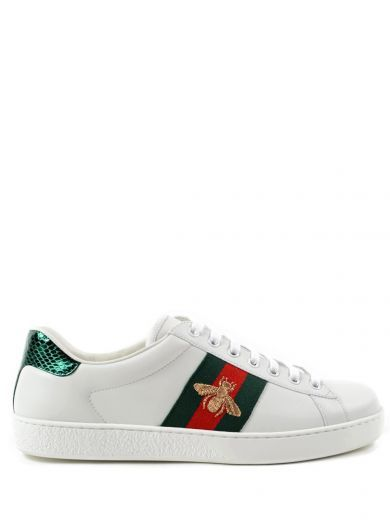 Ace Watersnake Trimmed Embroidered Leather Sneakers In 9064 White Gucci Sneakers Gucci Shoes Sneakers Sneakers Fashion