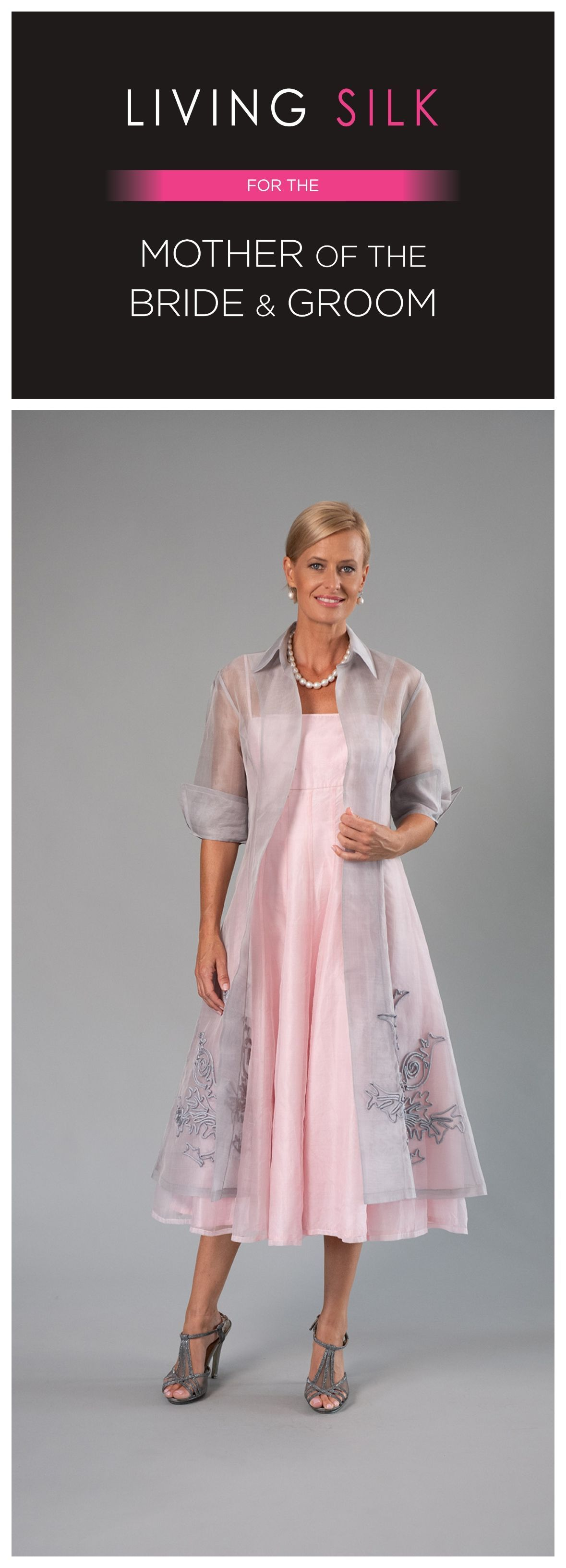 Silver and Soft Pink Dress and Coat for the Mother of the Bride / Groom from Living Silk