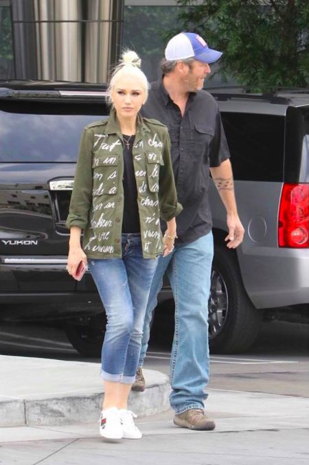 158ceb970 Gwen Stefani wearing Gucci sneakers, Dsquared2 jeans & a Libertine jacket  as she arrives in an #LA recording studio. #celebcouples #brands #instagram