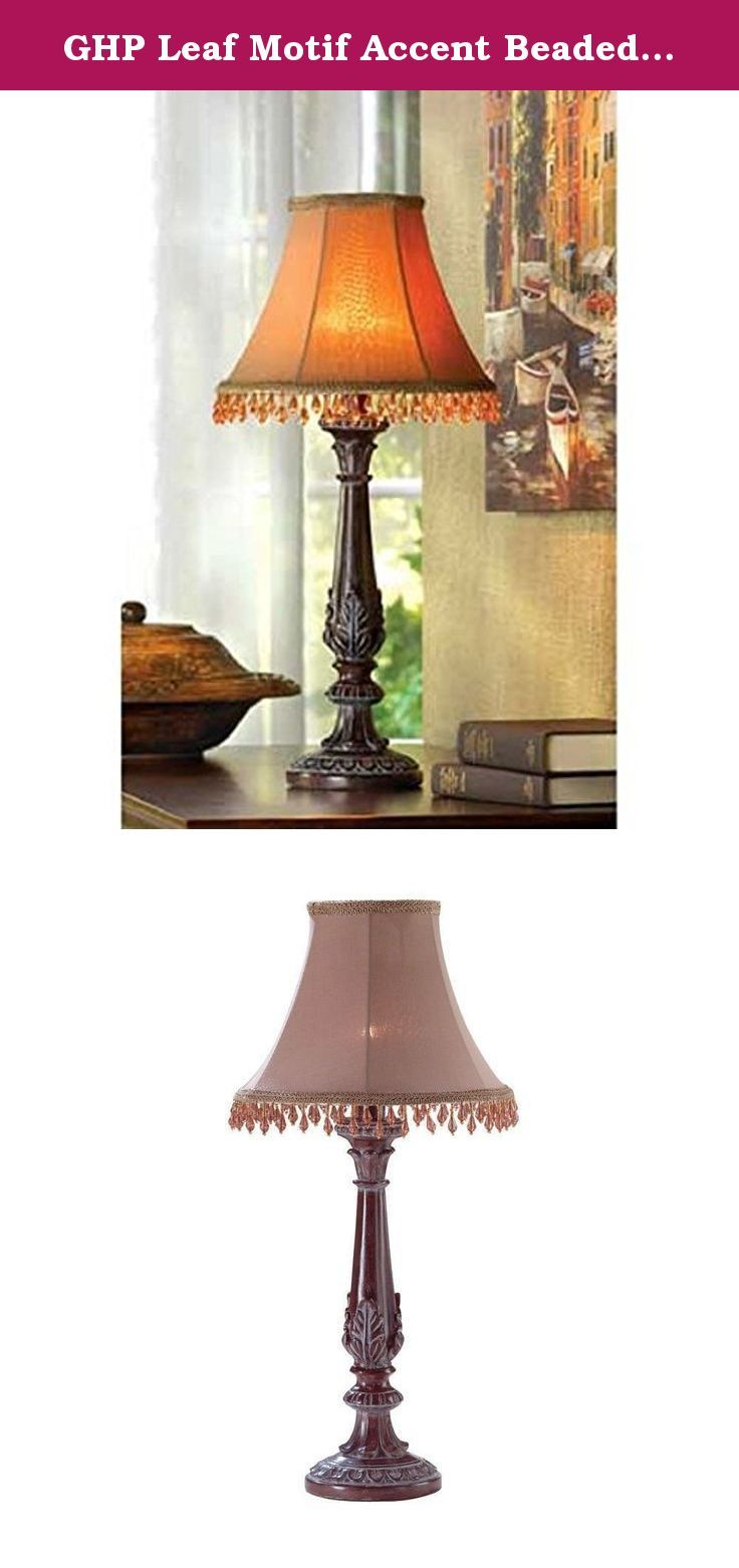 Ghp leaf motif accent beaded shade table lamp home decoration ghp leaf motif accent beaded shade table lamp home decoration lovely lamps shade is bedazzled aloadofball Images