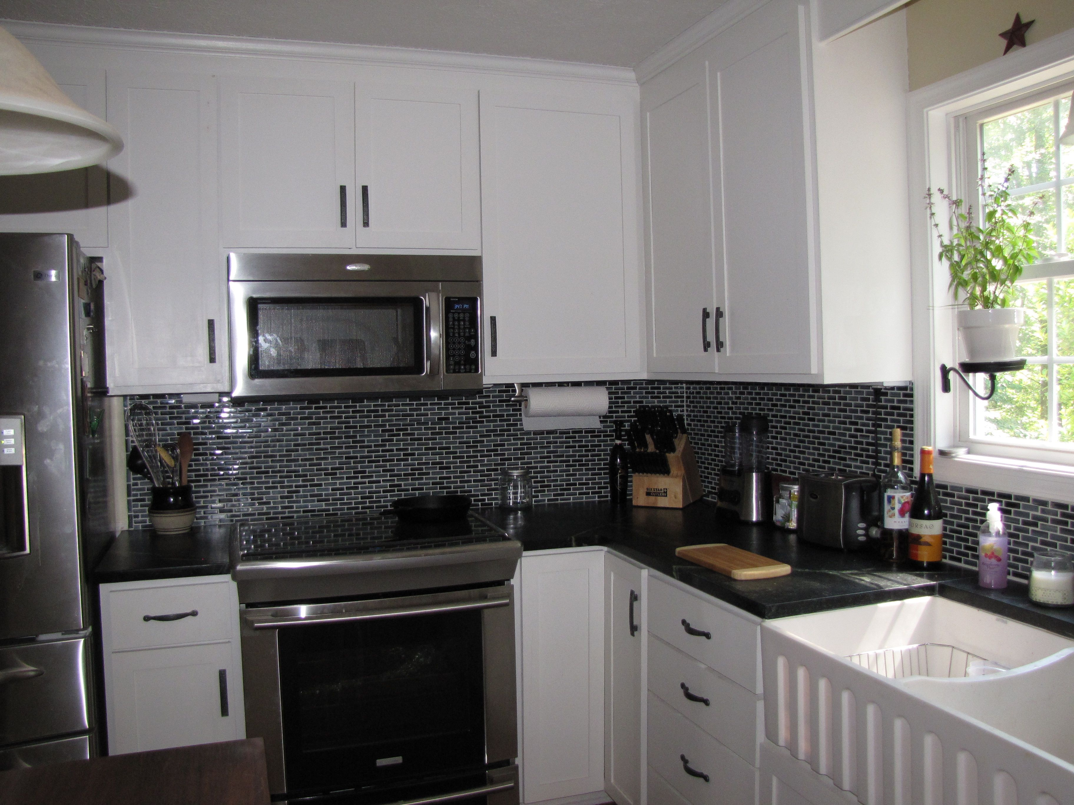 - Black And Gray Backsplash- Goes Well W/ White Cabinets And