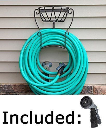 Garden Hose Holder. Wall Mount Hose Hanger Including Spray Nozzle. Quality  Choices Http: