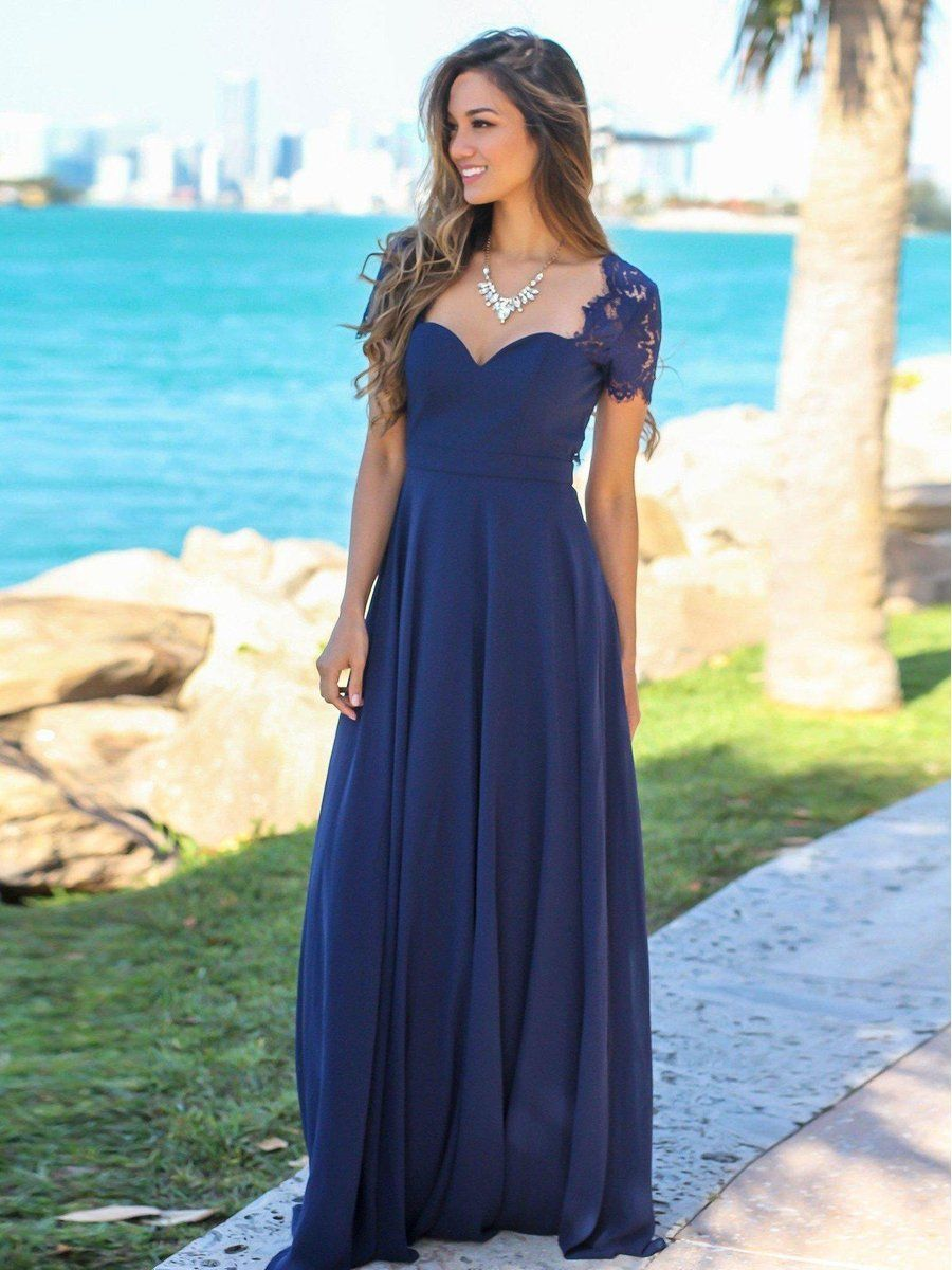 Navy Blue Chiffon Evening Dresses Cap Sleeves Long Maxi Backless Formal Dresses Apd3452 Backless Bridesmaid Dress Navy Blue Bridesmaid Dresses Blue Bridesmaid Dresses