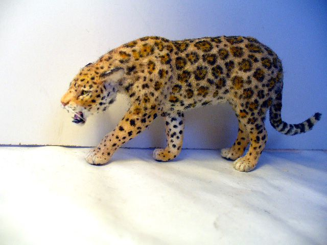 Jaguar #3, Hand sculpted with real hair by Linda Fisher.