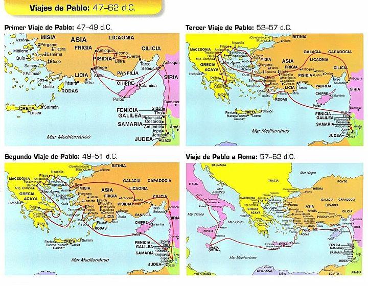 Los cuatro viajes de Pablo. | Catequesis | Misiones cristianas ...