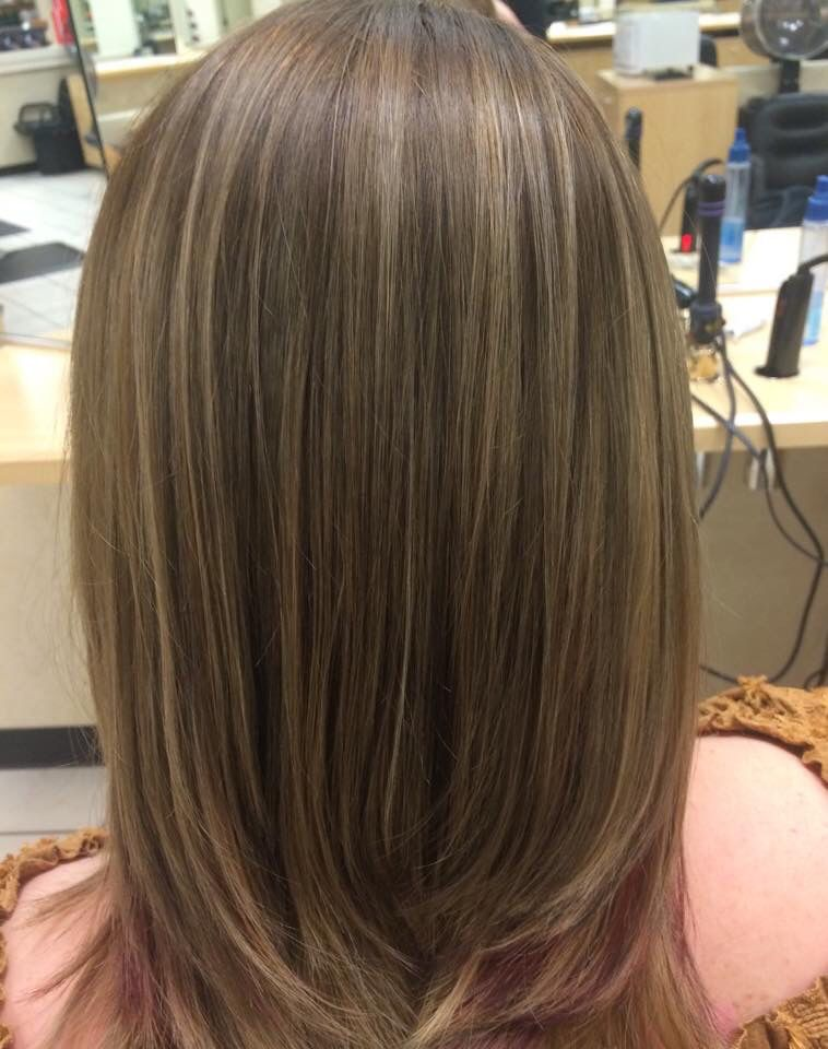 Ash Brown Base Plus Lowlights On Blonde Hair To Create A More