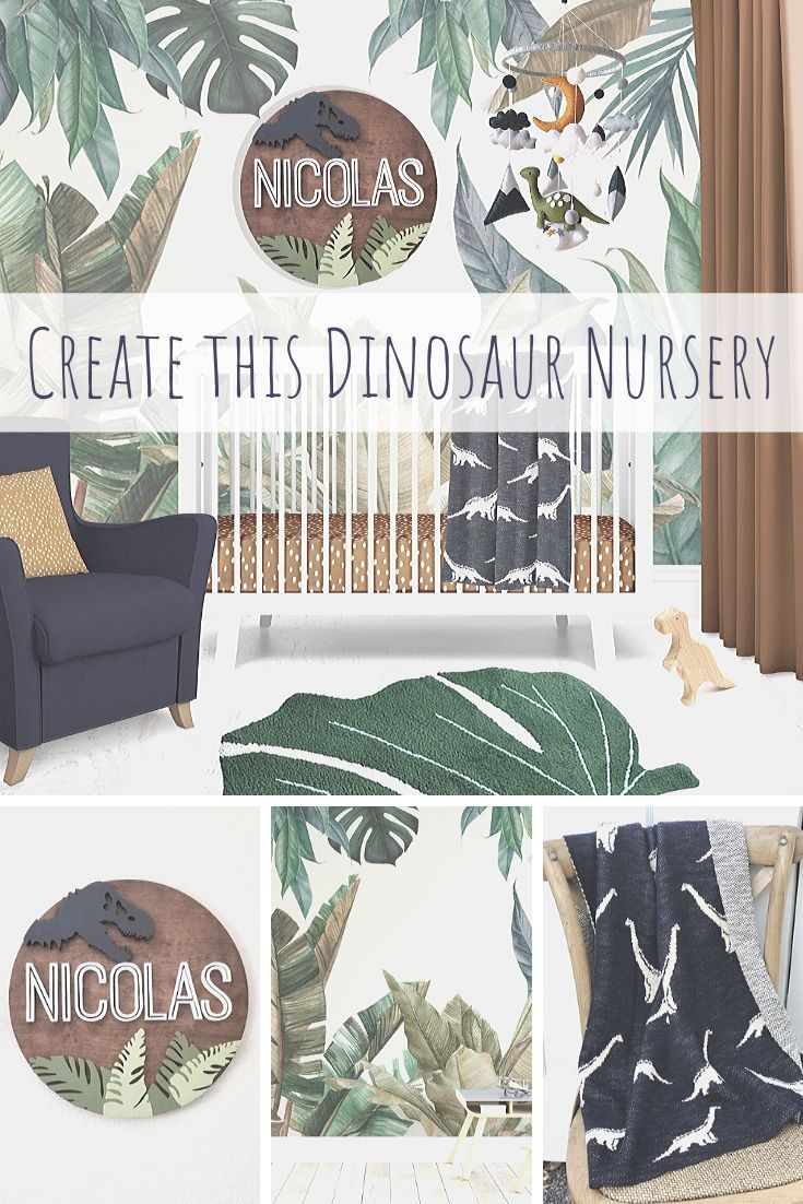 Dinosaur Nursery in Navy, Green and Burnt Orange