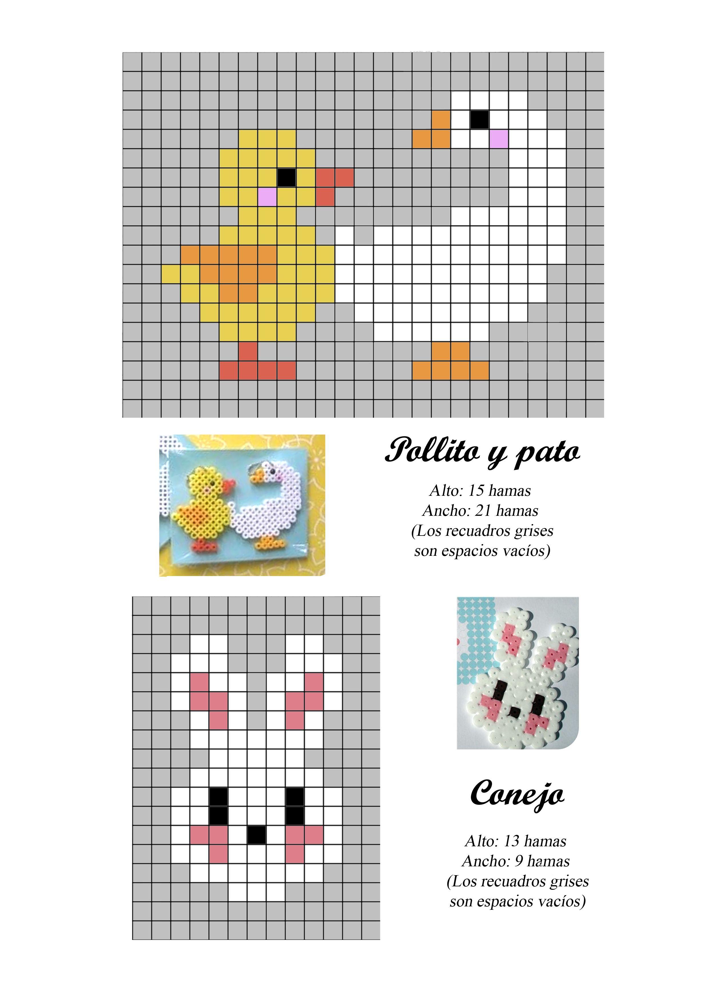 Pato pollo conejo hama beads pattern   Proyectos que intentar