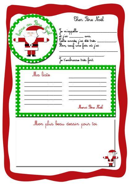 Lettre au p re no l imprimable lady bidouille activit s pour les enfants - Liste pere noel imprimer ...