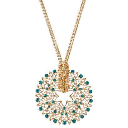 Women's Open Work Circle Pendant Necklace - Blue... : Target