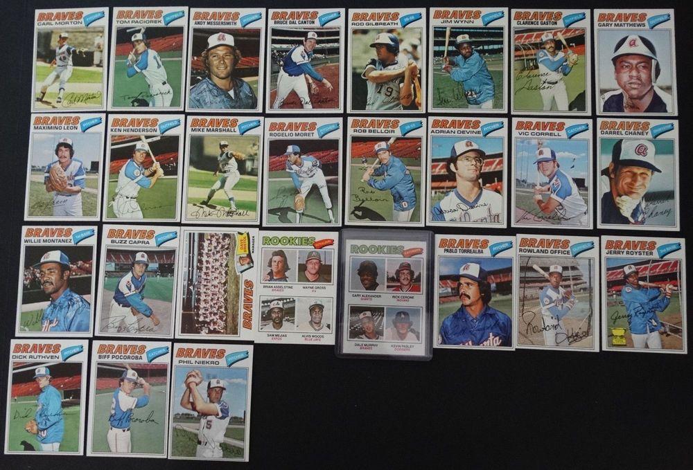1977 topps atlanta braves team set of 27 baseball cards