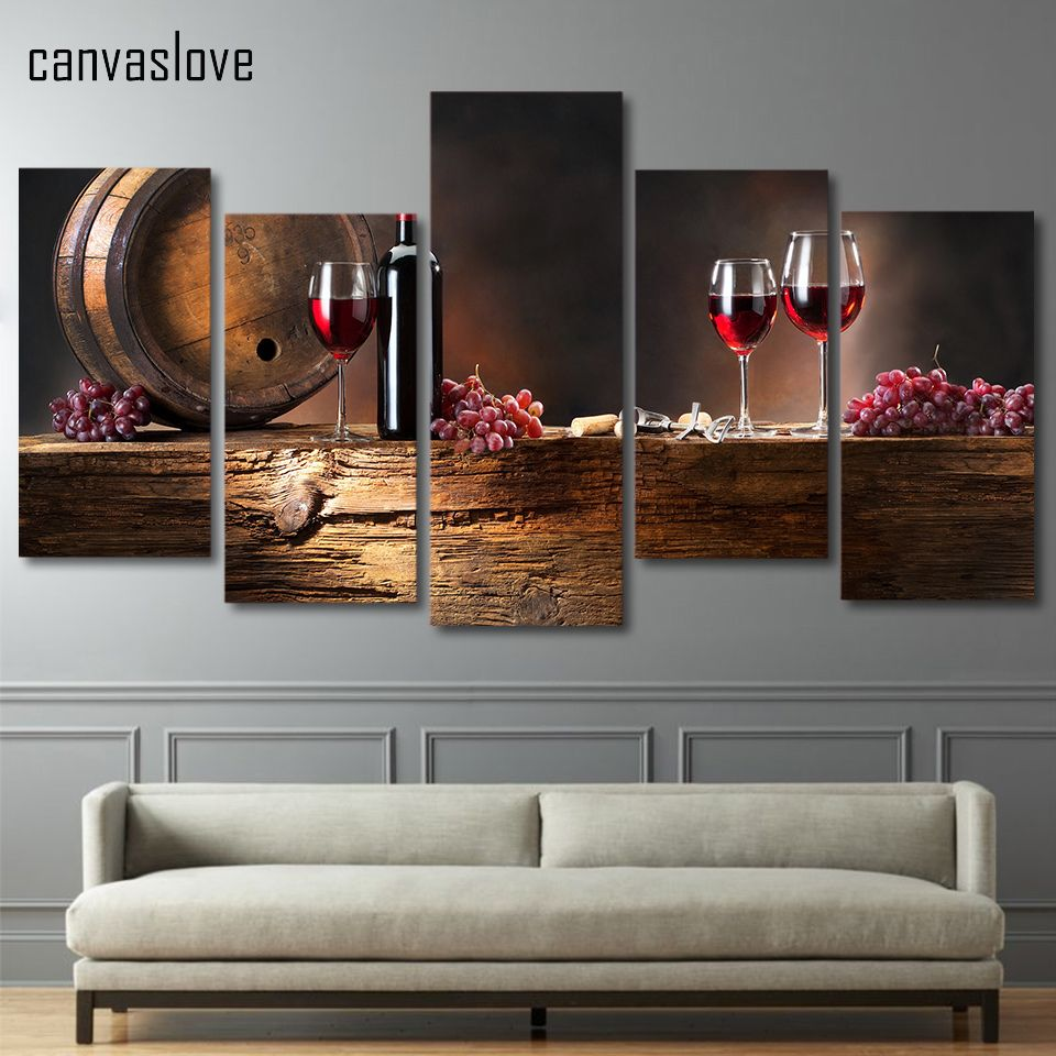 awesome hd piece canvas art print red wine grapes